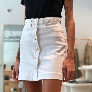 FRAME Claire Braided-Waistband Mini Skirt